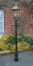USED Ex-Display 2.3m Black Victorian Garden Lamp Post With Antique Brass Lantern