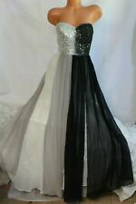 EVER PRETTY (12 L) Gown Dress Maxi Strapless Lace Sequins Black Grey White Sheer