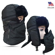 Mens Womens Trapper Warm Removable Zipper Fur Earflap Winter Ski Hat Cap Black