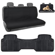 Black Pet Seat Cover Odorless Rubber Floor Mat Liner Combo Pack 2pc Set