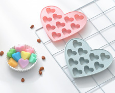 10 Sweet Hearts Silicone Chocolate Cake Cookie Mould Baking Valentine Jelly