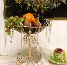 Vintage distressed rusted wire Fruit bowl metal holder glass drops centerpiece