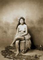 Antique Photo ... Hawaiian Woman Grass Skirt Topless ... Photo Print  5x7
