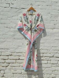 Indian Hand Block Printed Hippie Style Maxi Gown Women' New Kaftan Cotton Dress