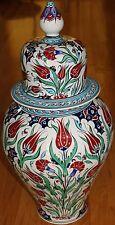 "Turkish Handpainted 24""x12"" Iznik Red Tulip Pattern Ceramic Jar Urn Canister"
