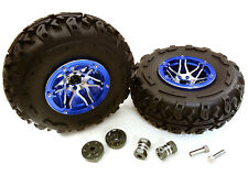C27040BLUE 2.2x1.75-in. Alloy Wheel, Tires, 14mm OffSet Hubs for 1/10 Crawler