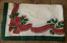 Christmas Holiday Tablecloth Bow Ribbon & Holly Design White Red & Green 96 x 60