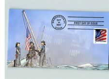 UNITED WE STAND, 9-11 Remembered, New York Firemen Raising American Flag, PETERM