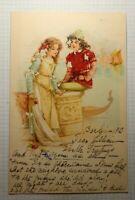 Undivided Sc#052 Boy & Girl Near Water & Boat Berlin 1902 Postcard