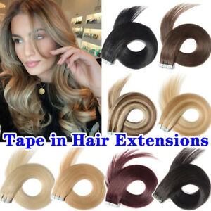 """Highlight Tape in Soft Remy Human Hair Extensions Full Head Skin Weft 10-24"""" www"""