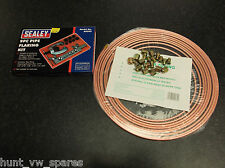COPPER BRAKE PIPE LINE KIT + NUTS 3/16 4.76MM & SEALEY FLARING TOOL KIT AK505