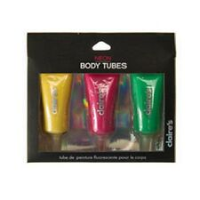 Claire's Accessories Neon Body Tubes Yellow Pink Green Festival Party 3 Pack