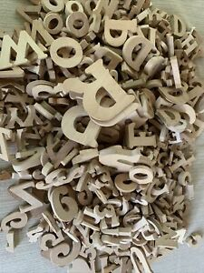 Wooden Letters  500+ Wood Alphabet Letter Numbers, Natural Color Assorted Sizes
