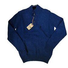 Maglione uomo Marlboro Classics collo alto con bottoni lana 4760-2 azzurro blu