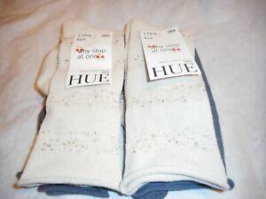 N/W/T 2 Pair Value Pack Hue Women's Tweed Stripe Boot Sock Sand Knee Hi SIZE O/S