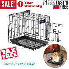 New listing 18 Inch Pet Cage Dog Cat Animal Crate Home Folding Metal 2 Door Training Kennel