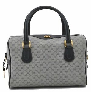 Authentic GUCCI Micro GG PVC Leather Hand Boston Bag Navy D5278
