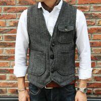 Fashion Mens Slim Fit Single Breasted Waistcoat Cargo Wool Blend Vest Jacket New