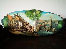 German München 1970s oval wooden wall plaque vintage art souvenir ~ Prop/Display