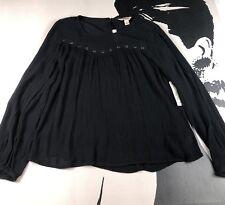 New ARIZONA JEANS Womens Black Semi Sheer  Boho Peasant Blouse Top Size XS