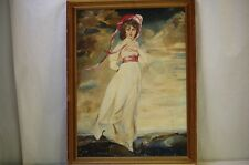 Oil Painting Portrait Girl Lady by Sea Long White Gown Pink Hat Ocean Pinkie