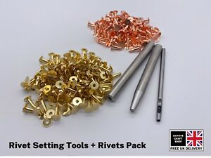 SOLID BRASS/COPPER 9mm HOSE SADDLERS RIVETS WITH SETTING TOOLS