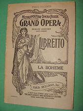 Opera Libretto Giacomo Puccini La Boheme  Metropolitan Opera House English text
