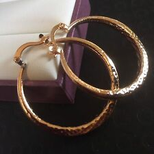 Z02 Large 18ct gold filled 36mm x 3.5mm hoop earrings FREE GIFT BOX Plum UK