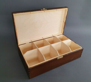 BROWN Handmade Storage Box 8x Removable Compartments Jewellery Chest Furniture
