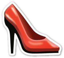 x2 10cm Shaped Vinyl Sticker laptop emoji shoe high heels ladies womens red