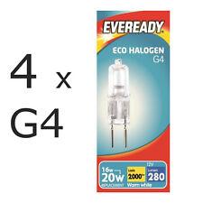 4 x Eveready G4 Eco 20W Halogen Capsule Bulb 280 Lumens 12V Lamp Warm White