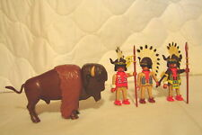 Vintage Playmobil NATIVE AMERICAN BUFFALO HUNTERS w/3 Indians and Buffalo