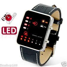 UK Women Mens Watch Digital Red LED Sport Wrist Watch Leather Band Binary Watch