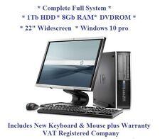 """Windows 10 completa di 22"""" MONITOR HP core 2 DUO 1Tb 8Gb PC DESKTOP COMPUTER"""