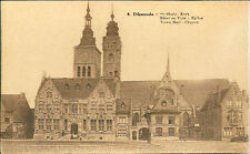 German Postcard- Diksmu - Town Hall & Church  Sepia postcard un-posted-Desaix
