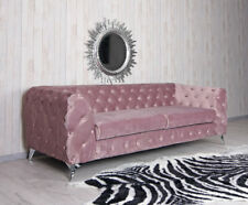 Samt Sofa Chesterfield Pastell Couch Polstersofa Barocksofa  Polstercouch Liege