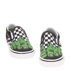 VANS x MARVEL Kids Canvas Sneakers EU 24 UK 7 US 7.5 Hulk Print Check Pattern