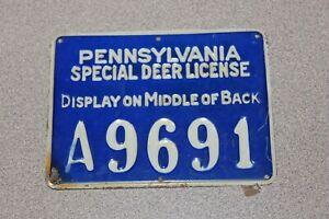 Vintage 1928 Pennsylvania PA Special Deer License A9691 Cobalt Blue Tin