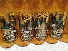 4 Vtg Hazel Atlas Canada Geese Beverage Glass Hunter Bird  (new, unused) Hunting