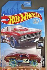 2018 Hot Wheels #280 X-Racers 7/10 '69 CHEVELLE Trans Red w/Blue Wheel OH5 Spoke