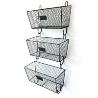 3Pcs Storage Basket Wall Mount Hanging Organizer,Wire Metal Storage Shelf Rack