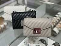 NWT Michael Kors Small Rose Quilted Leather Shoulder Flap Bag Black/Grey/White