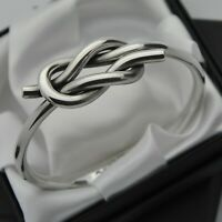 Hans Hansen 1974 Vintage Solid 925 Sterling Silver Knot Design Bangle Bracelet