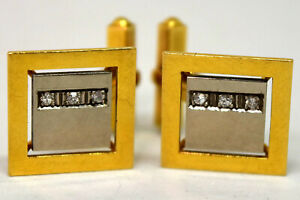 Vintage 18K Solid White/Yellow Gold and Diamond Cufflinks Signed