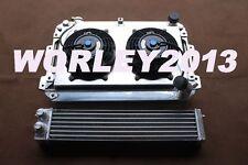 Aluminum radiator + shroud +fan+ oil cooler for Mazda RX7 SA/FB S1 S2 S3 12A/13B