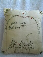 Primitive Snowman Embroidery Pillow