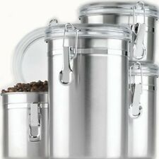Anchor Hocking 4 Piece Stainless Steel Clamp Canister Set With Clear Lid,  New