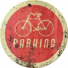 """Bicycle Parking 12"""" Round Metal Sign Rusty Decorative Garage Home Wall Decor"""