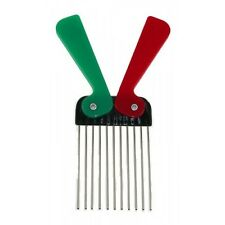 Afro Comb Foldable Plastic Handle with High Grade Metal Teeth Red & Green