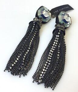 New Ranjana Khan RK Tassel Clip Earrings Rhinestone The Limited Jewelry
